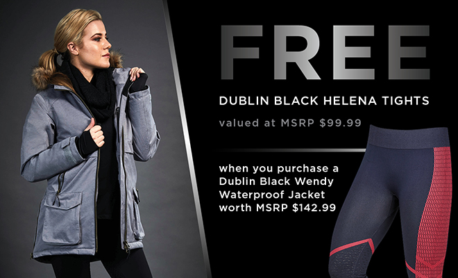Dublin Gift with Purchase - Free Dublin Black Helena Tights with Purchase of Dublin Black Wendy Waterproof jacket