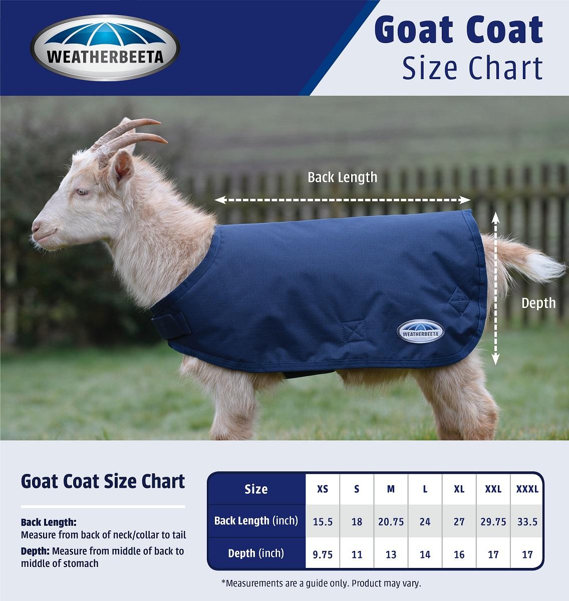 WeatherBeeta Goat Coat Size Chart