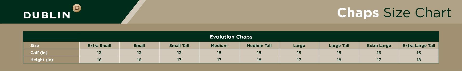 Dublin Evolution Half Chaps Size Chart