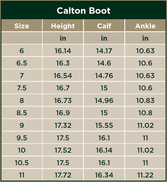 Dublin Calton Boots Size Chart