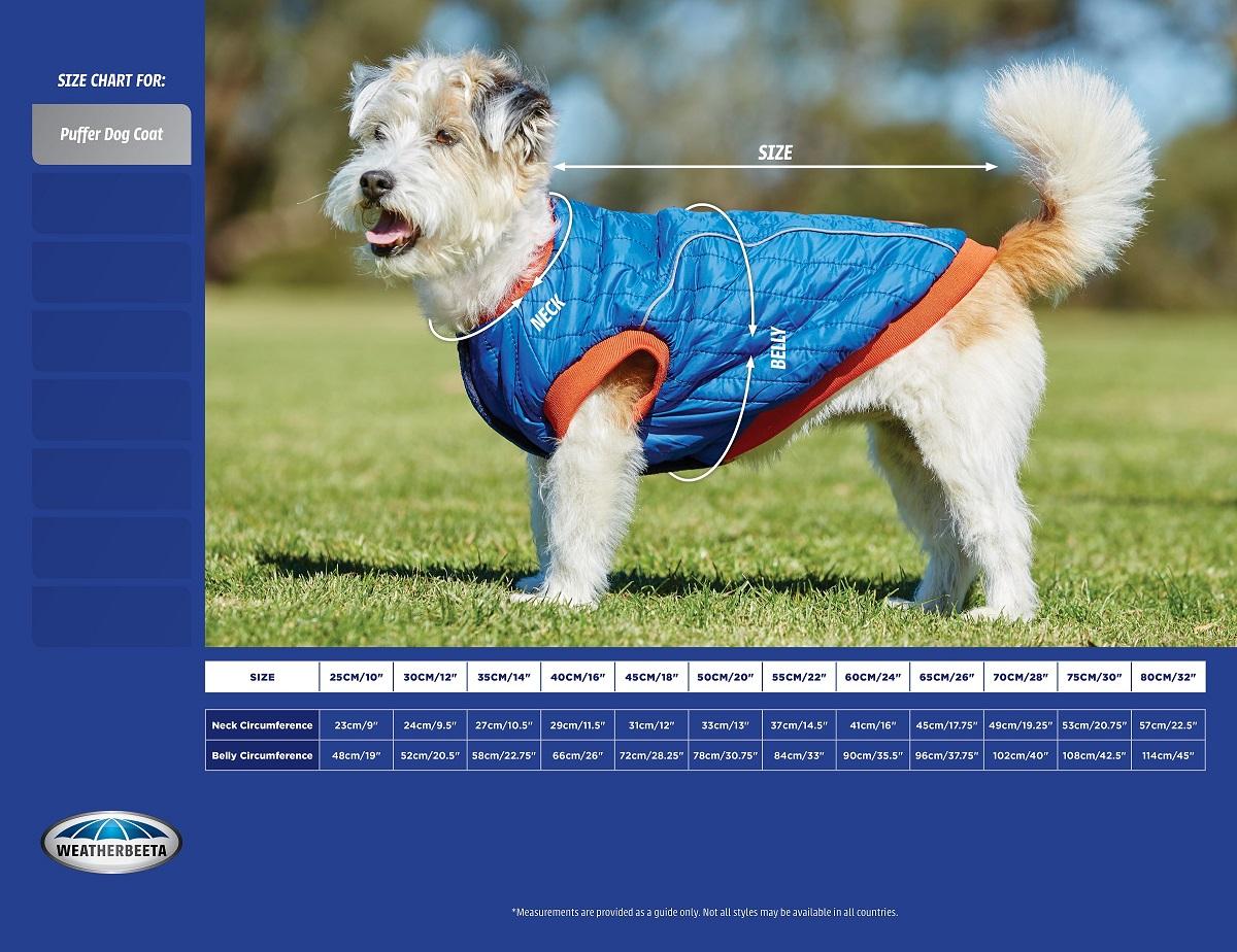 WeatherBeeta Puffer Dog Coat Size Chart