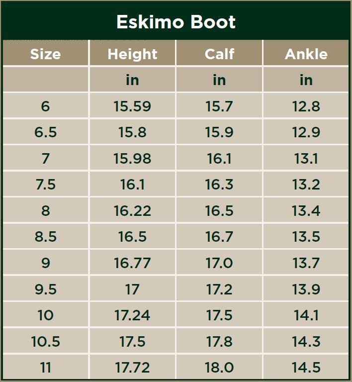 Dublin Eskimo Boots Size Chart