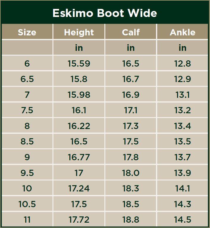 Dublin Eskimo Boots Wide Size Chart