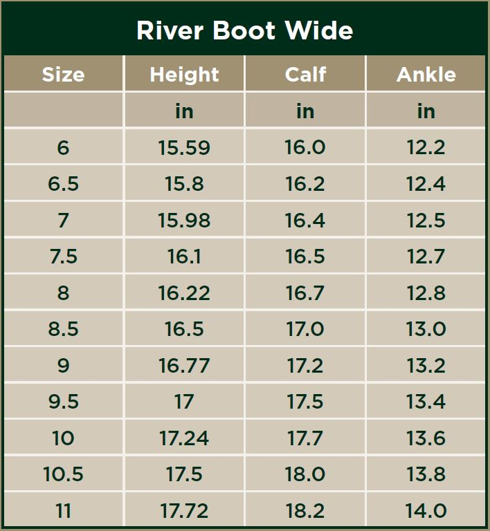 Dublin River Boots Wide Size Chart