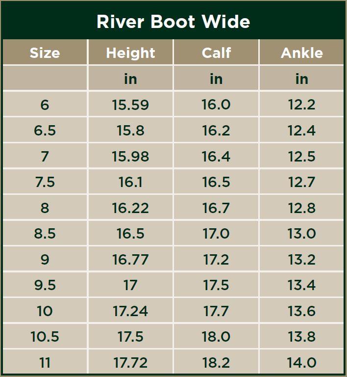 Dublin River Boot Wide Size Chart