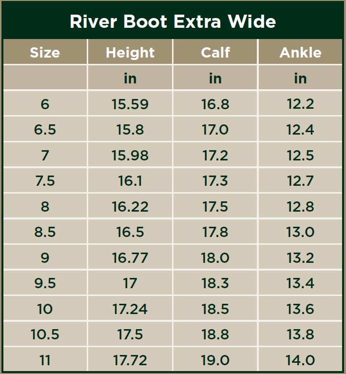 Dublin River Boots XWide Size Chart