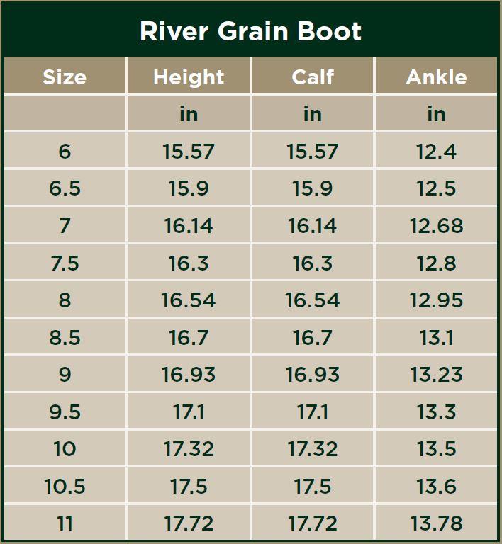 Dublin River Grain Boots Size Chart