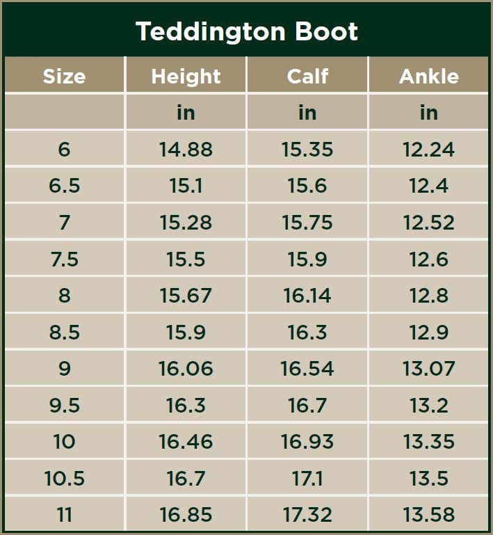 Dublin Teddington Boots Size Chart