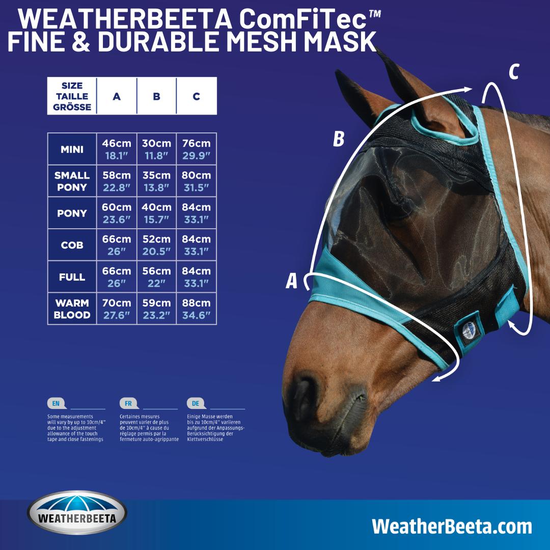 ComFiTec Mesh Mask Size Chart